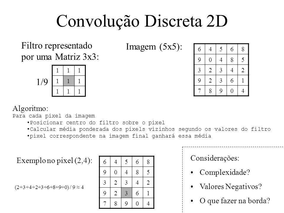 Convolução Discreta 2D Filtro representado por uma Matriz 3x3: