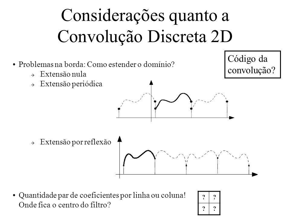 Considerações quanto a Convolução Discreta 2D