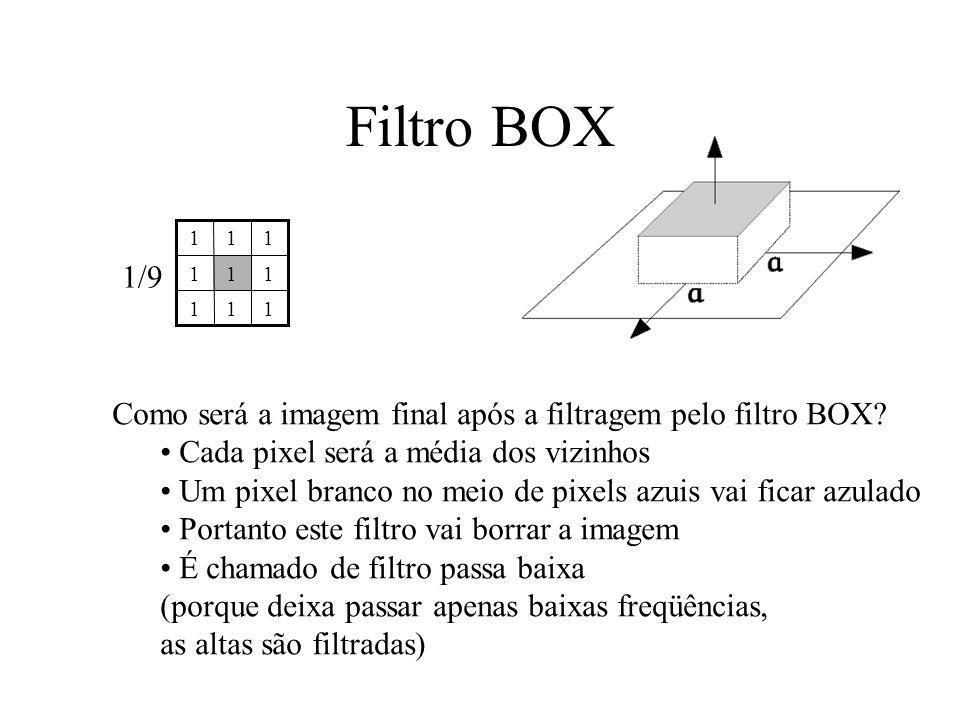 Filtro BOX 1. 1/9. Como será a imagem final após a filtragem pelo filtro BOX Cada pixel será a média dos vizinhos.