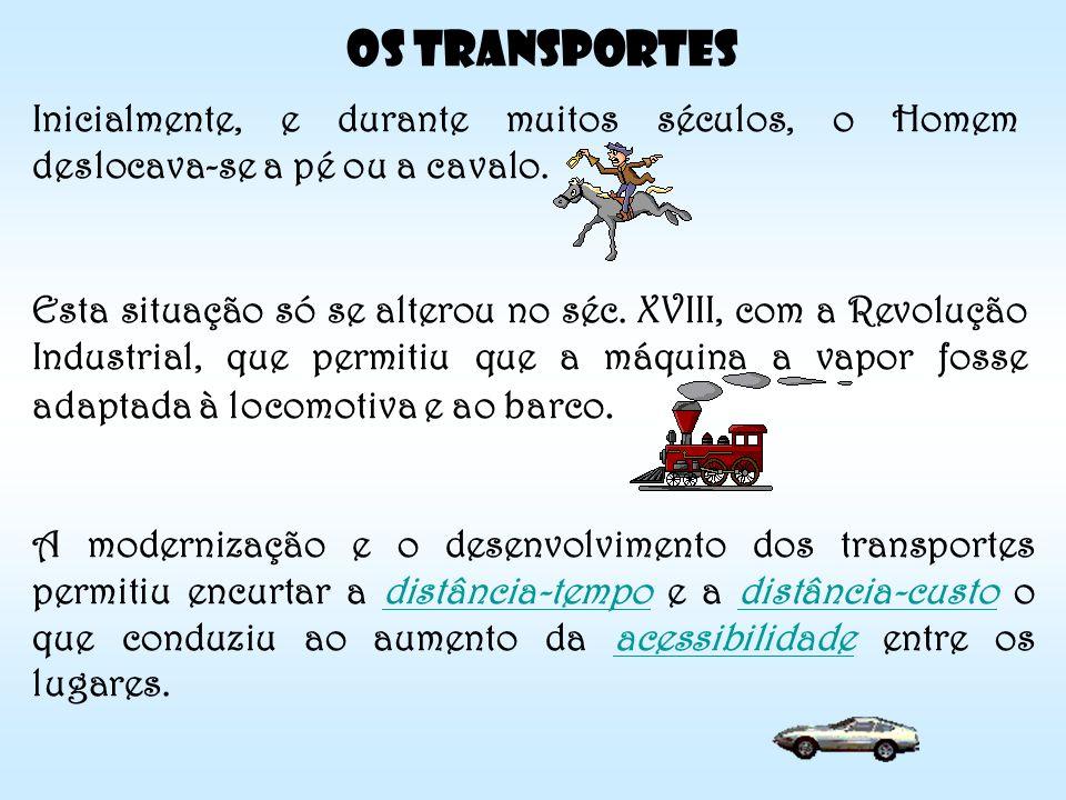 Os Transportes Inicialmente, e durante muitos séculos, o Homem deslocava-se a pé ou a cavalo.