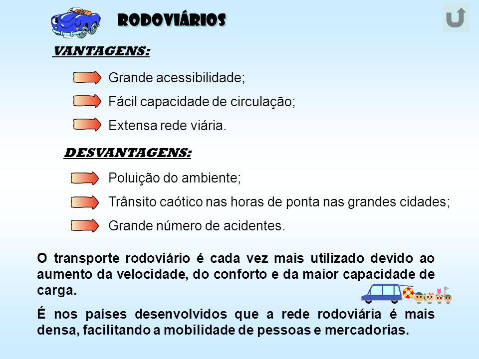 Rodoviários VANTAGENS: Fácil capacidade de circulação;
