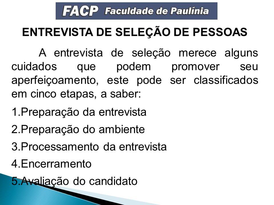 ENTREVISTA DE SELEÇÃO DE PESSOAS