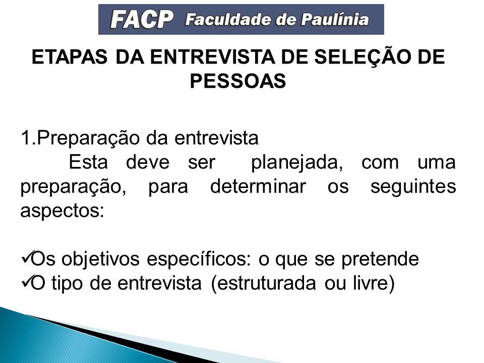 ETAPAS DA ENTREVISTA DE SELEÇÃO DE PESSOAS