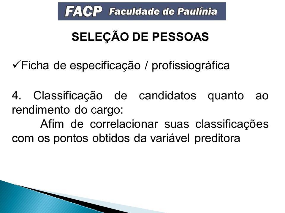 SELEÇÃO DE PESSOAS Ficha de especificação / profissiográfica. 4. Classificação de candidatos quanto ao rendimento do cargo: