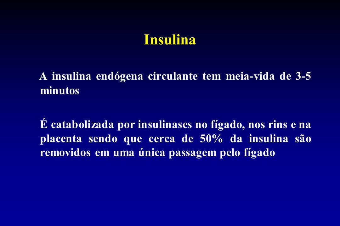 Insulina A insulina endógena circulante tem meia-vida de 3-5 minutos