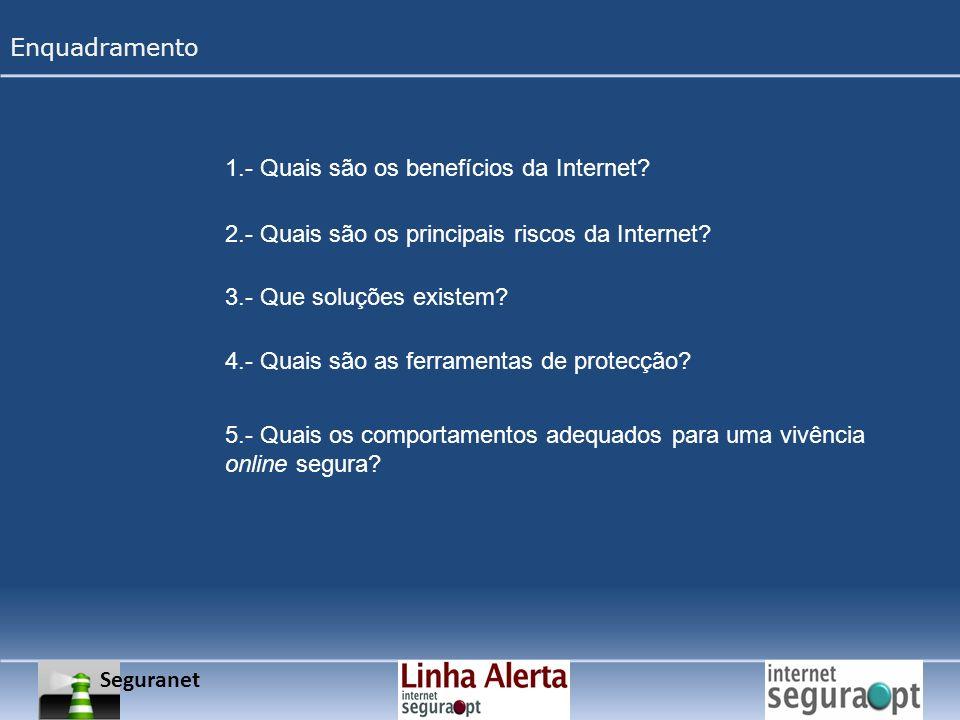 Enquadramento 1.- Quais são os benefícios da Internet 2.- Quais são os principais riscos da Internet