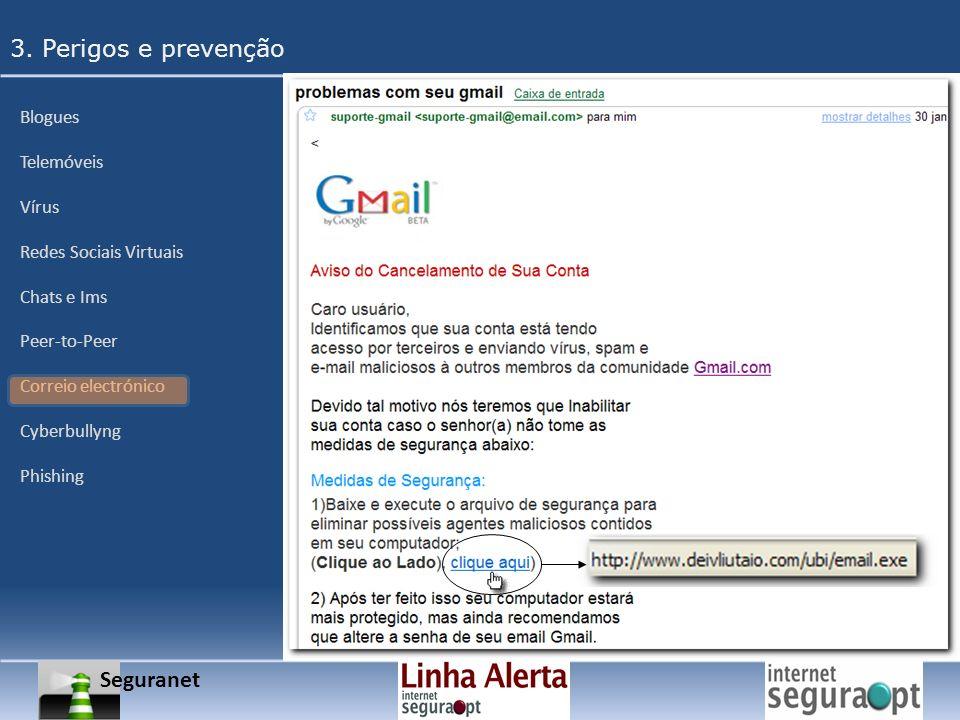 3. Perigos e prevenção Seguranet Blogues Telemóveis Vírus