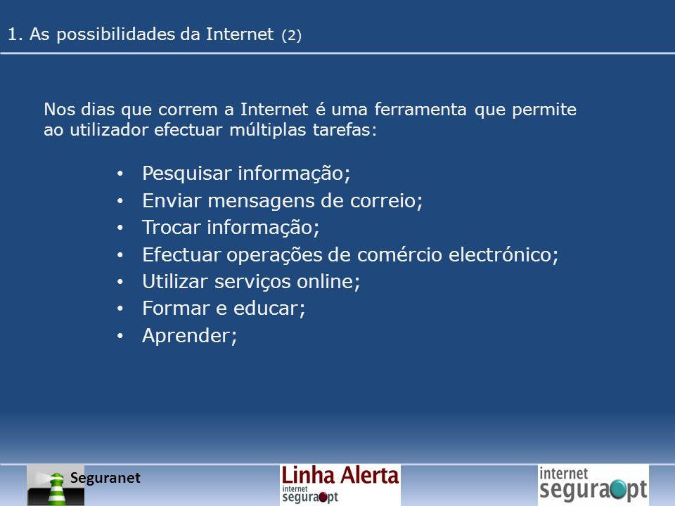 Pesquisar informação; Enviar mensagens de correio; Trocar informação;