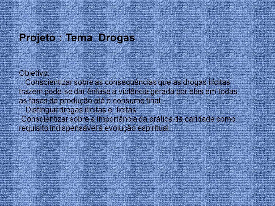 Projeto : Tema Drogas Objetivo: