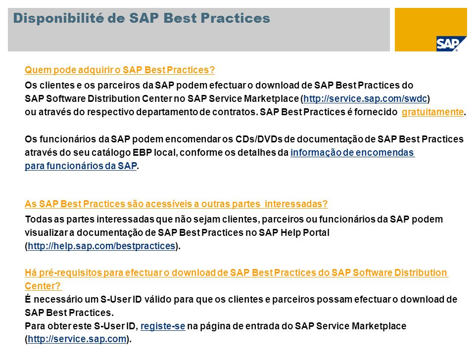 Disponibilité de SAP Best Practices
