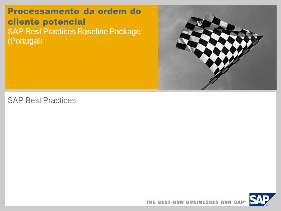 Processamento da ordem do cliente potencial SAP Best Practices Baseline Package (Portugal)