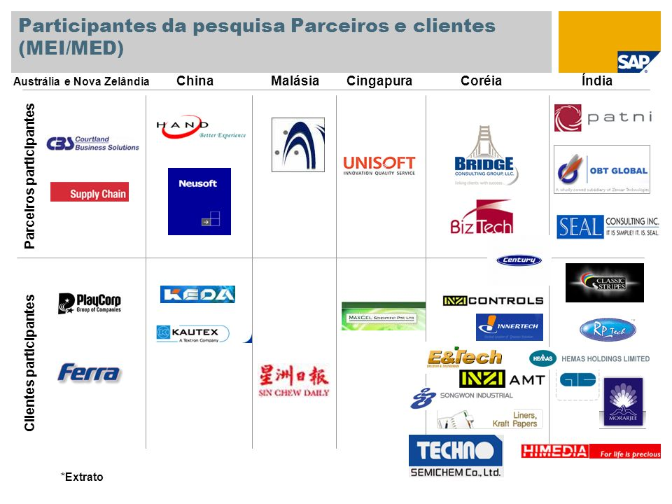 Participantes da pesquisa Parceiros e clientes (MEI/MED)