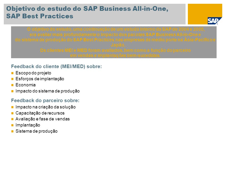 Objetivo do estudo do SAP Business All-in-One, SAP Best Practices