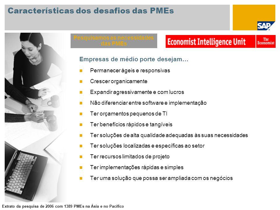 Características dos desafios das PMEs