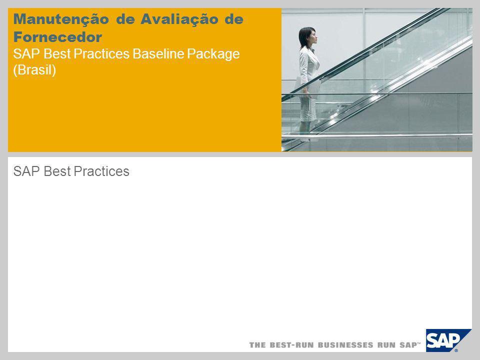 Manutenção de Avaliação de Fornecedor SAP Best Practices Baseline Package (Brasil)
