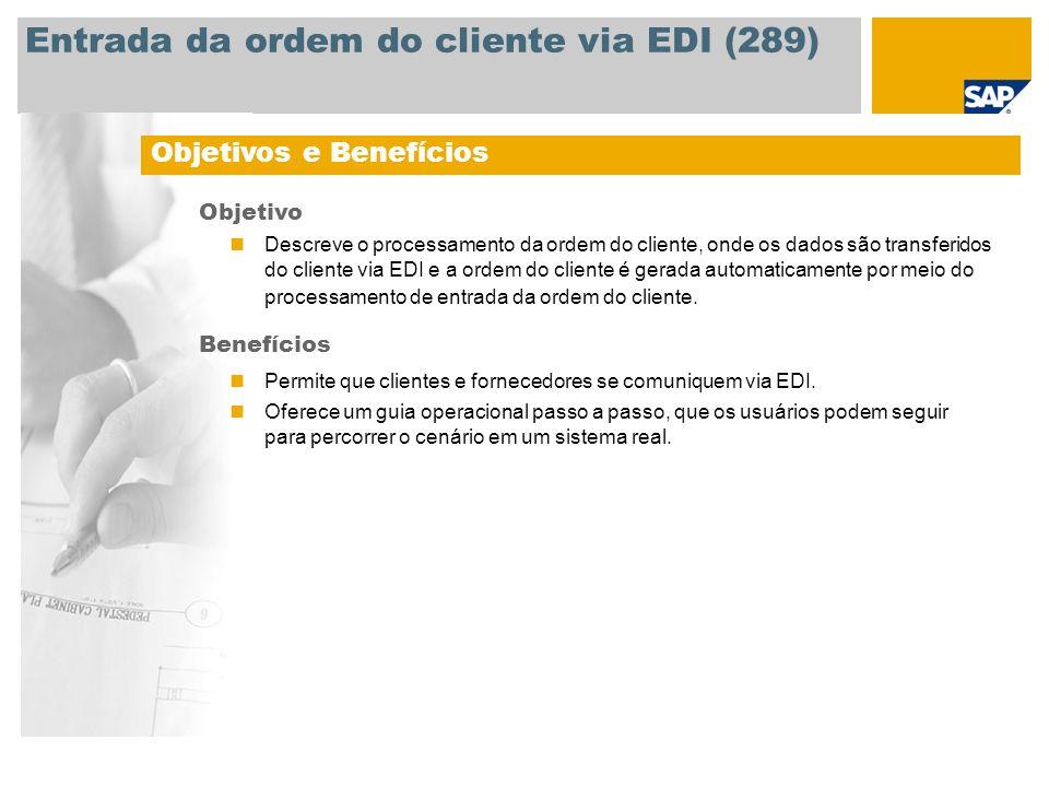 Entrada da ordem do cliente via EDI (289)