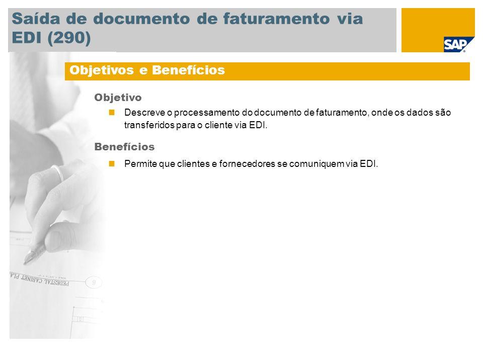 Saída de documento de faturamento via EDI (290)