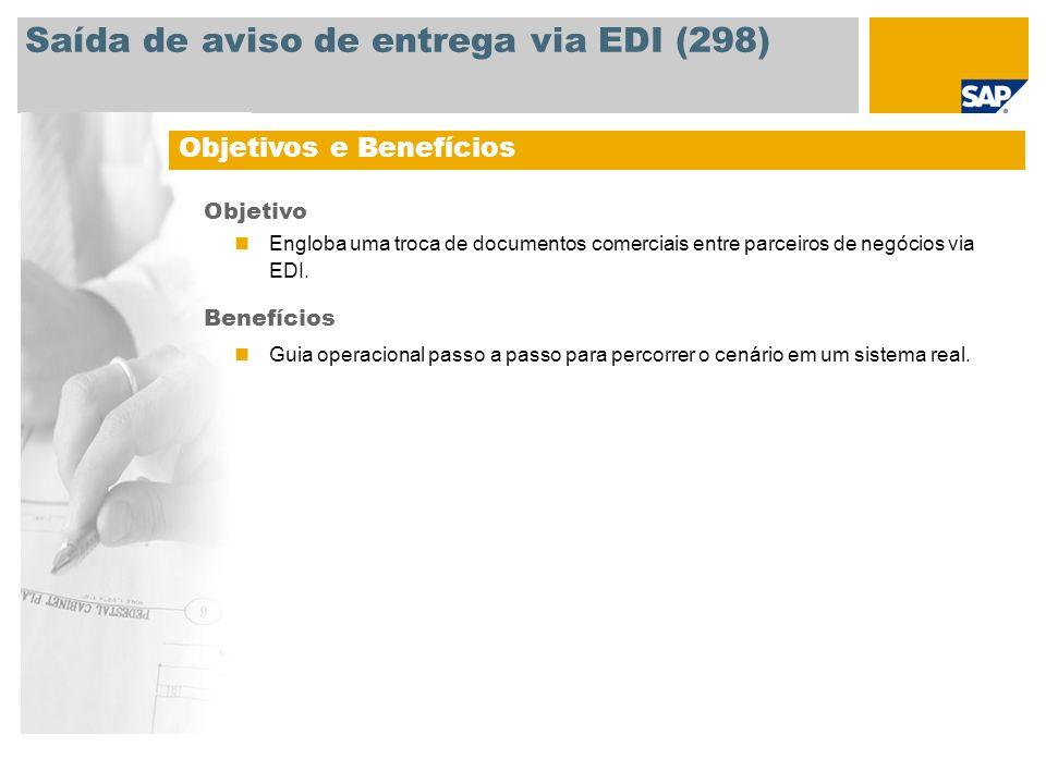 Saída de aviso de entrega via EDI (298)