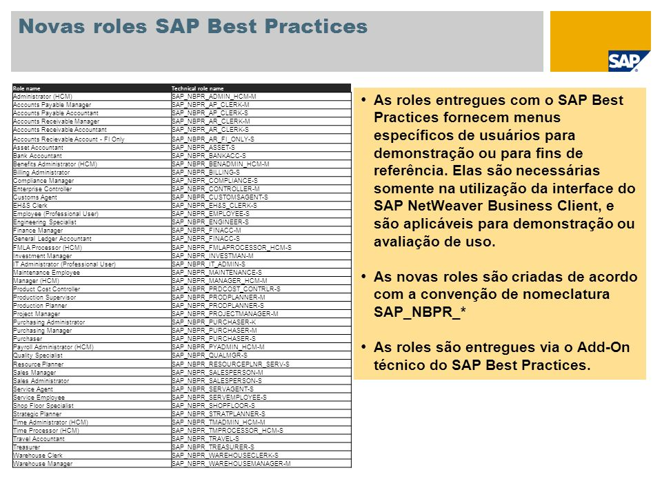 Novas roles SAP Best Practices