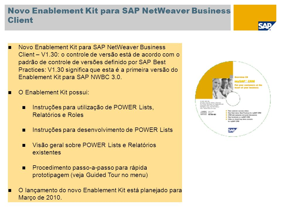 Novo Enablement Kit para SAP NetWeaver Business Client