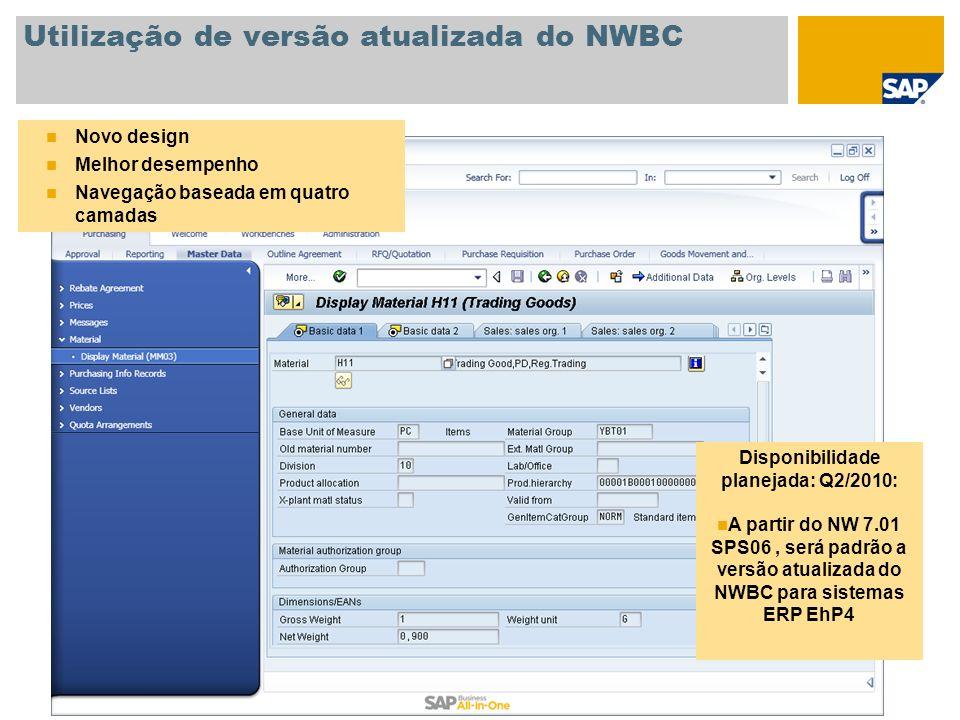 Utilização de versão atualizada do NWBC