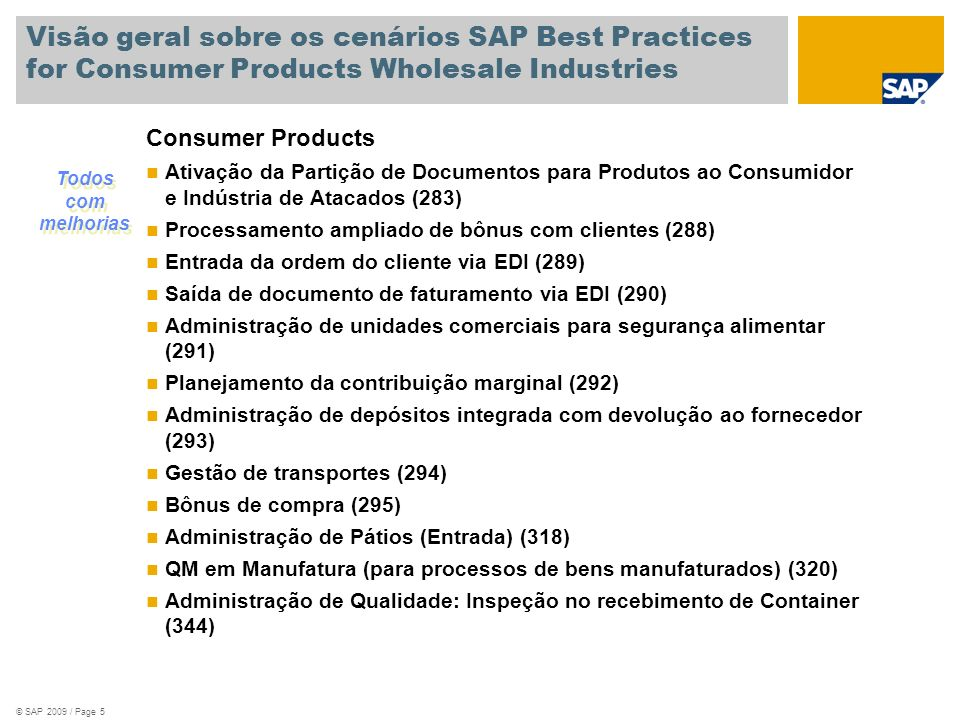 Visão geral sobre os cenários SAP Best Practices for Consumer Products Wholesale Industries