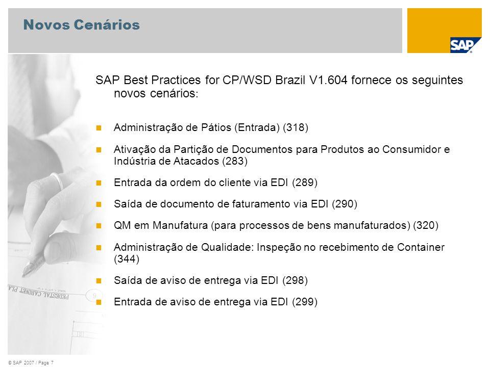 Novos Cenários SAP Best Practices for CP/WSD Brazil V1.604 fornece os seguintes novos cenários: Administração de Pátios (Entrada) (318)