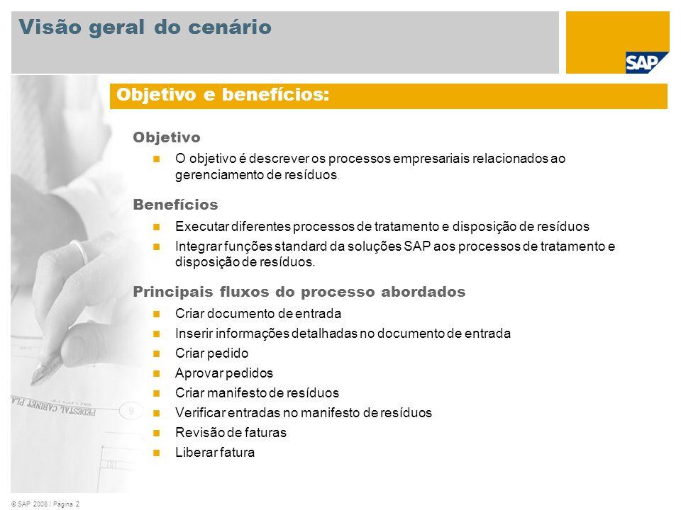 Visão geral do cenário Objetivo e benefícios: Objetivo Benefícios