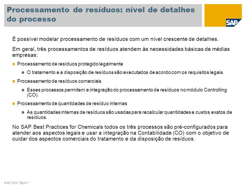 Processamento de resíduos: nível de detalhes do processo