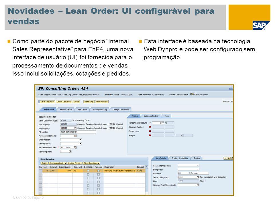 Novidades – Lean Order: UI configurável para vendas
