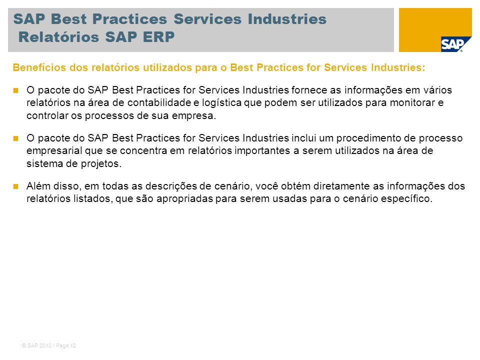 SAP Best Practices Services Industries Relatórios SAP ERP