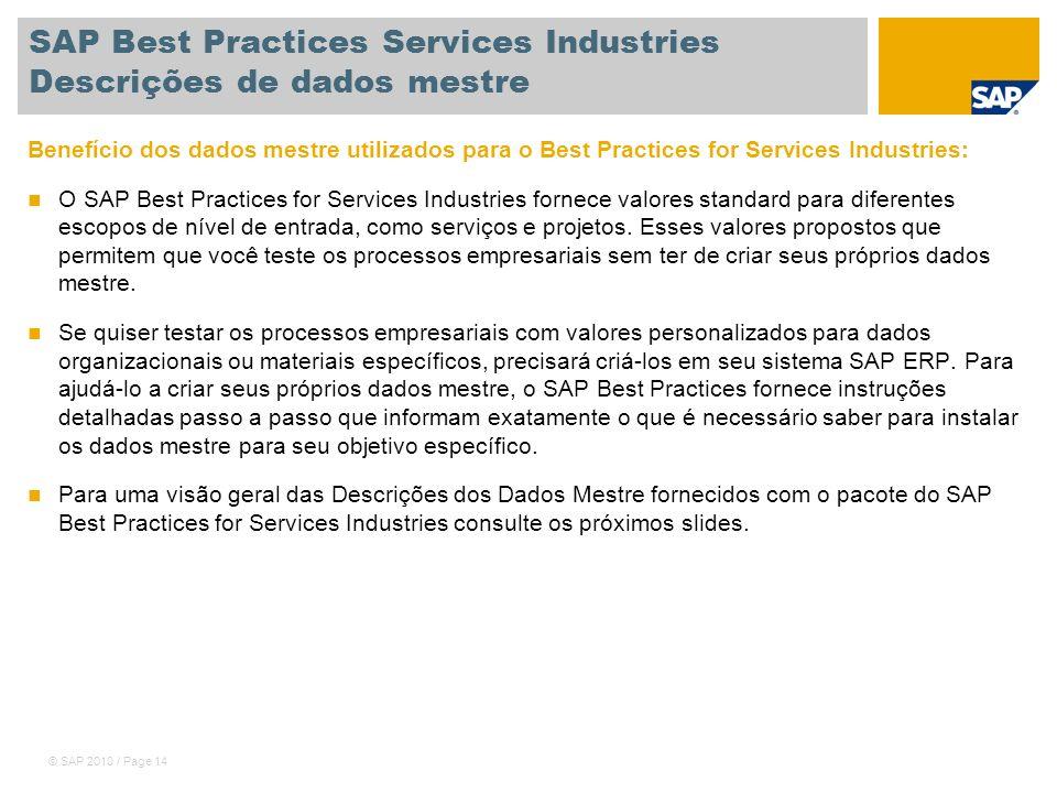 SAP Best Practices Services Industries Descrições de dados mestre
