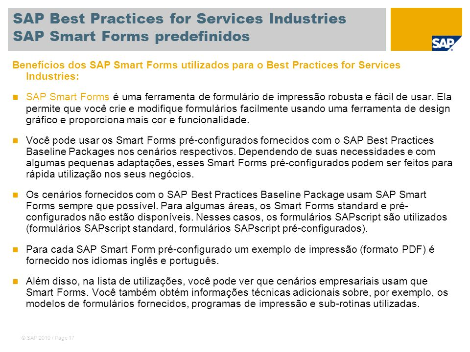 SAP Best Practices for Services Industries SAP Smart Forms predefinidos