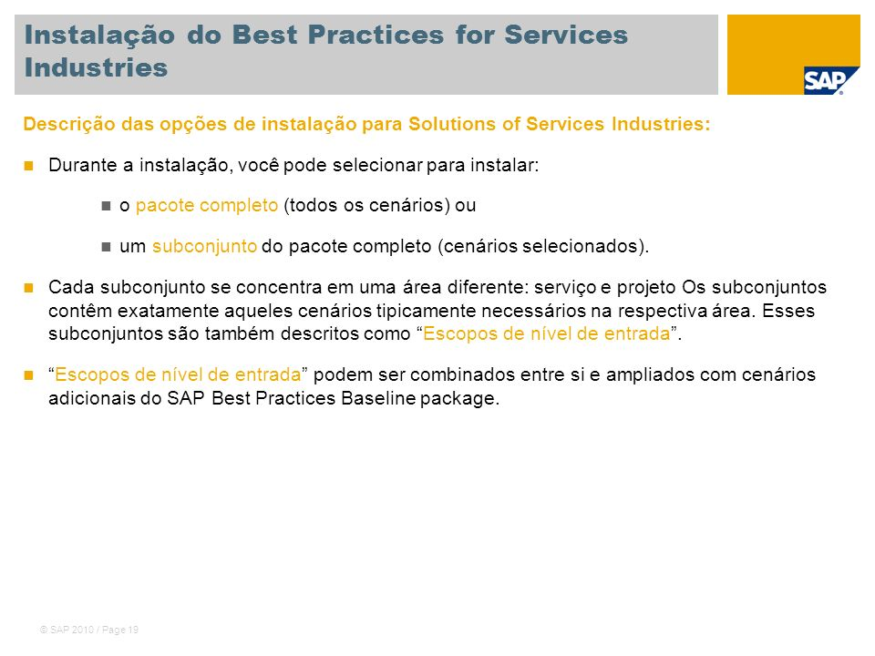 Instalação do Best Practices for Services Industries