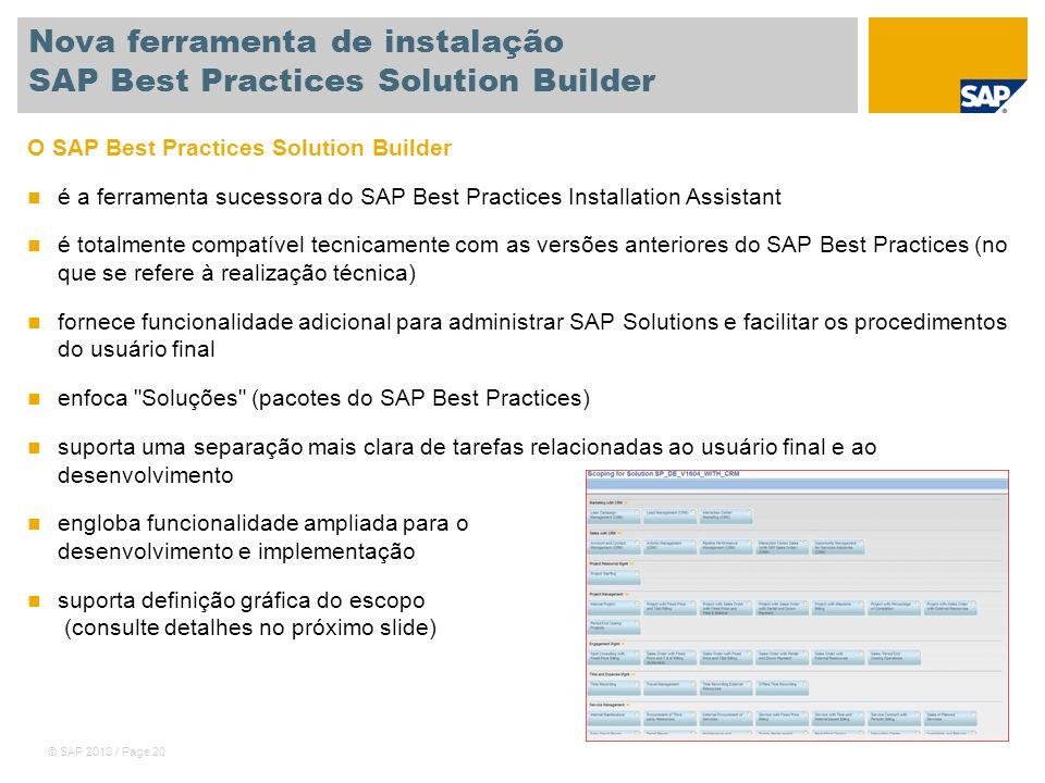 Nova ferramenta de instalação SAP Best Practices Solution Builder