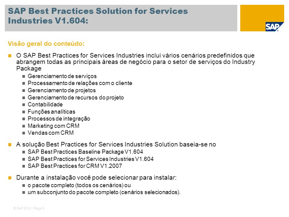 SAP Best Practices Solution for Services Industries V1.604:
