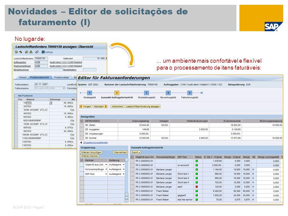 Novidades – Editor de solicitações de faturamento (I)