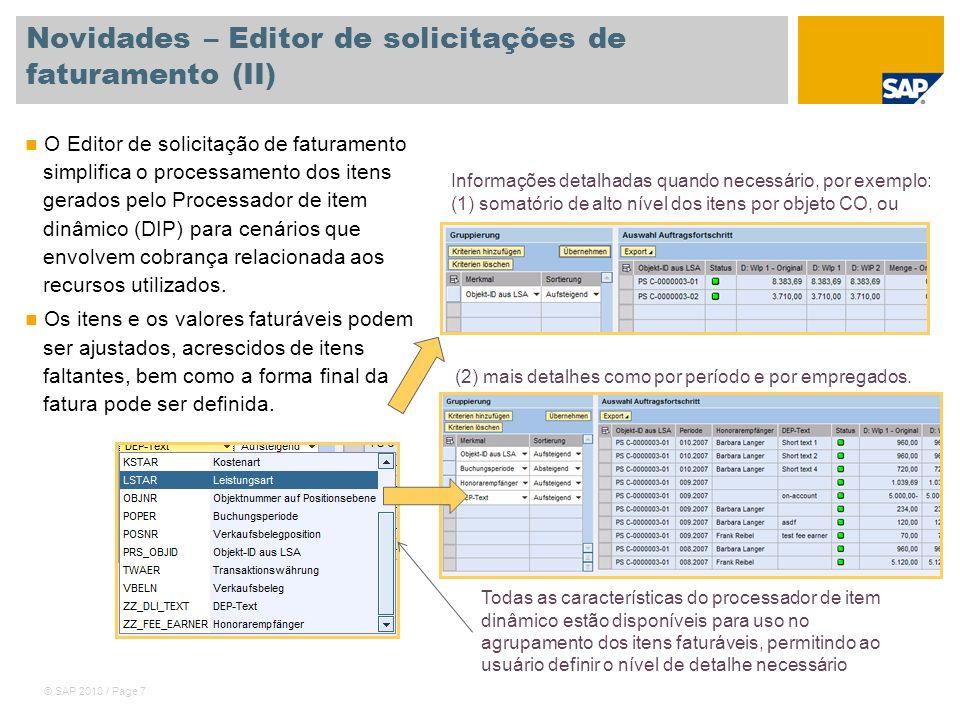 Novidades – Editor de solicitações de faturamento (II)