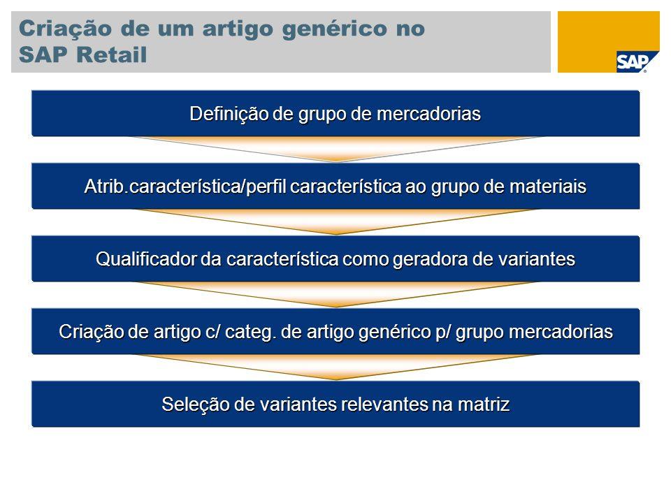 Criação de um artigo genérico no SAP Retail