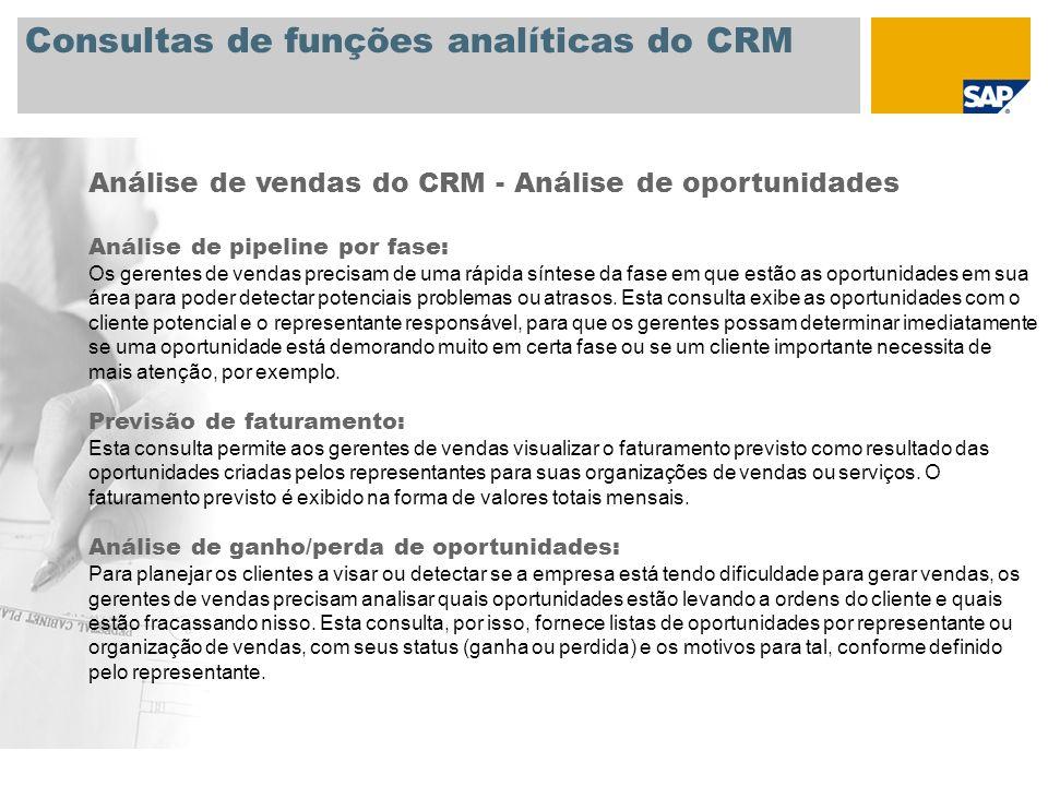 Consultas de funções analíticas do CRM