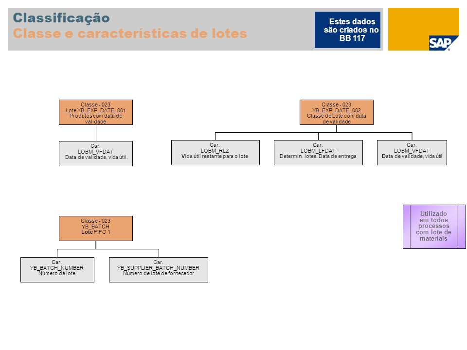 Classificação Classe e características de lotes