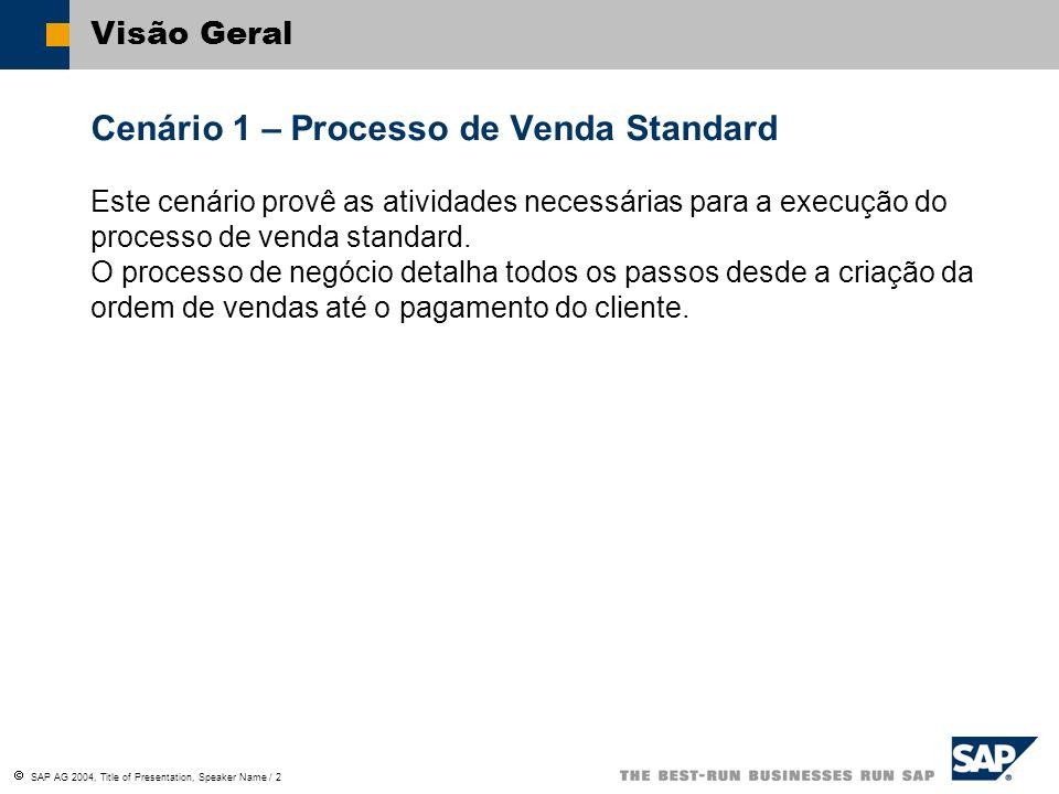 Cenário 1 – Processo de Venda Standard
