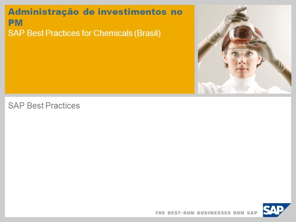 Administração de investimentos no PM SAP Best Practices for Chemicals (Brasil)