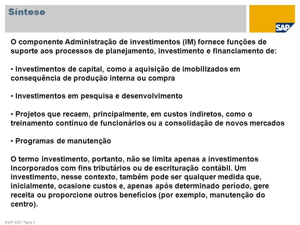 Síntese O componente Administração de investimentos (IM) fornece funções de suporte aos processos de planejamento, investimento e financiamento de: