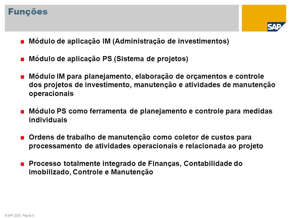 Funções Módulo de aplicação IM (Administração de investimentos)