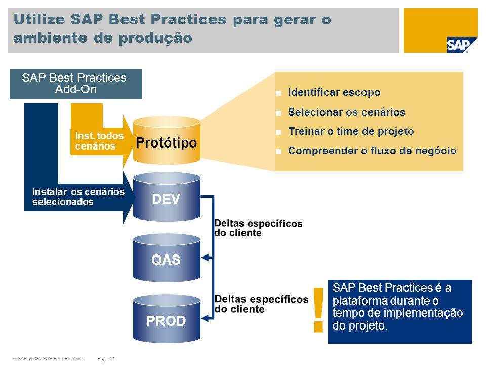 Utilize SAP Best Practices para gerar o ambiente de produção