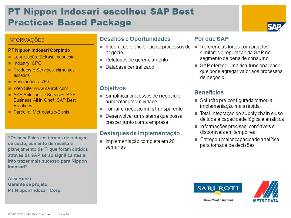 PT Nippon Indosari escolheu SAP Best Practices Based Package
