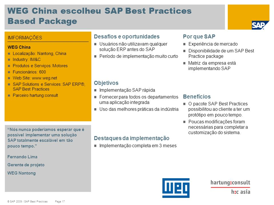 WEG China escolheu SAP Best Practices Based Package