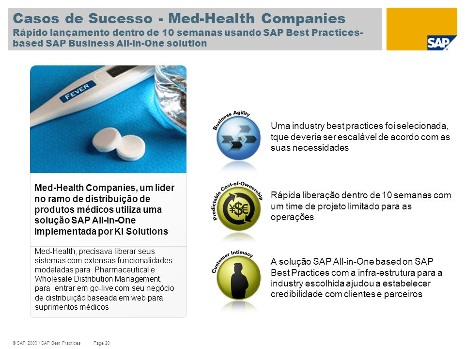 Casos de Sucesso - Med-Health Companies Rápido lançamento dentro de 10 semanas usando SAP Best Practices-based SAP Business All-in-One solution