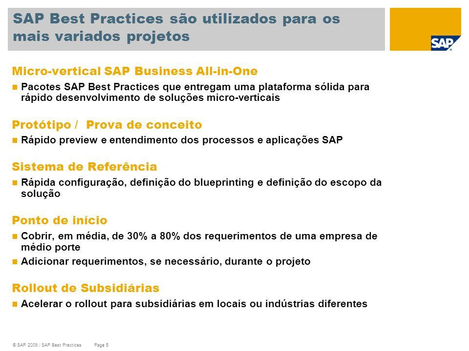 SAP Best Practices são utilizados para os mais variados projetos